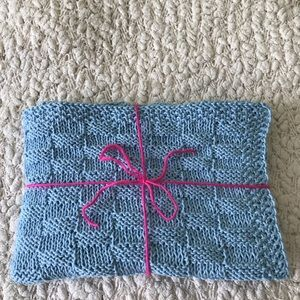 New hand knit sky blue baby boy blanket
